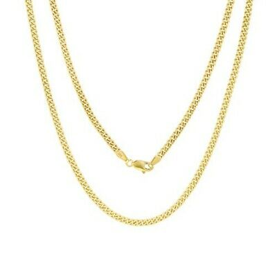 "10K Yellow Gold Real 3.5mm Thin Miami Cuban Link Chain Pendant Necklace 16""- 30"""