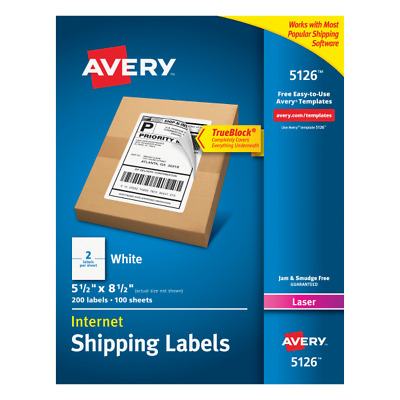 """Laser Shipping Labels,Perforated,5-1/2""""x8-1/2"""",200/BX,WE"""