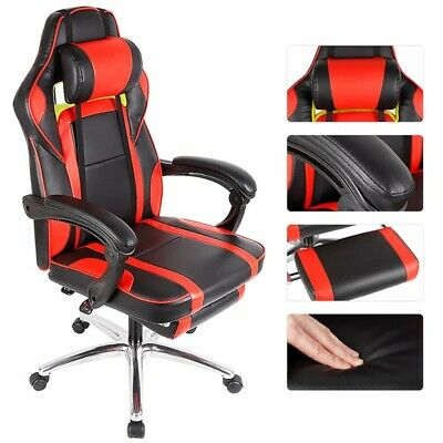New Gaming Office Chair with Armrests Headrest Footrest High Back Tilt Swivel Ch