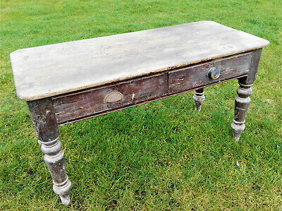 Vintage antique Victorian farmhouse kitchen table wooden