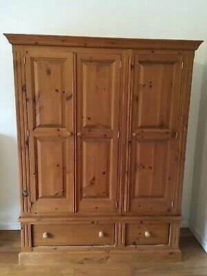 Solid Pine Triple Wardrobe With 2 Drawers - Antique Pine
