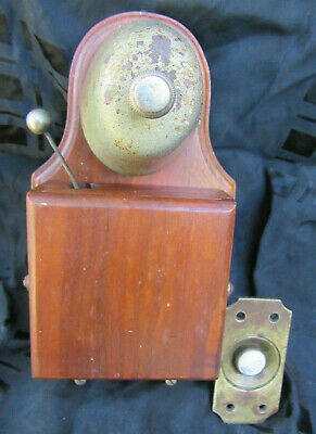 """Antique Door Bell With Porcelin Push Button Made In Britan """"British Made"""""""