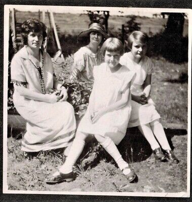Antique Vintage Photograph Women & Young Girls Sitting in the Garden