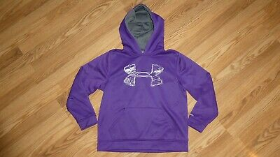 UNDER ARMOUR youth girls L Large LOOSE 'STORM' PURPLE HOODED SWEATSHIRT