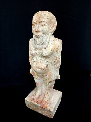 Massive Bes Statue Ancient Faience Egypt Egyptian Roman God Nile Antiquities art