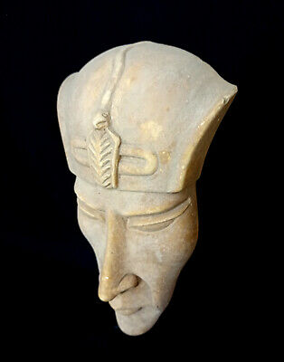 Akhenaten Mask Bust Statue Ancient Egyptian  Antique Hieroglyphic Bead Mummy