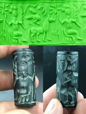 Amazing Rare Ancient old Black Jade Stone Cylinder Seal Bead intaglio