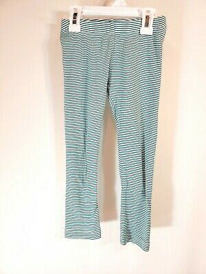 Tea Collection Girls Blue Teal White Stripe Full Length Leggings Size 5