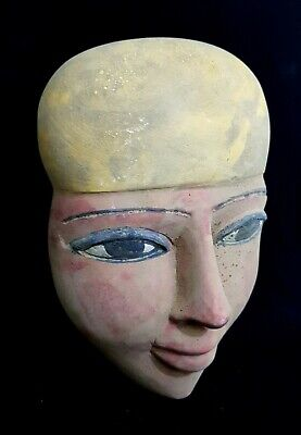 African Mask Egyptian Antique Stone Statue Ancient  Hieroglyphic Bust Mummy Bead