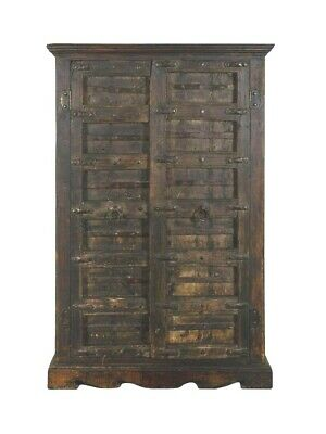 Antique Continental Iron Mounted Oak Two Door Cabinet Armoire Hall Cupboard
