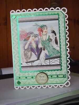 Classy A5 Shaped Edge  Handmade Art Deco   At The Races Best Wishes Card