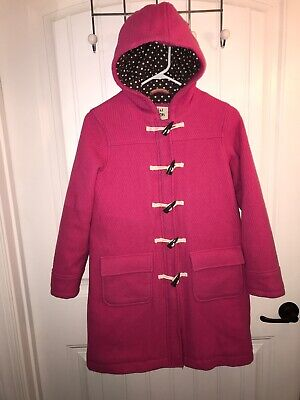 Mini Boden Girls Pink Wool Hooded Pea Coat Size 11-12 Zipper Toggle Buttons Nice