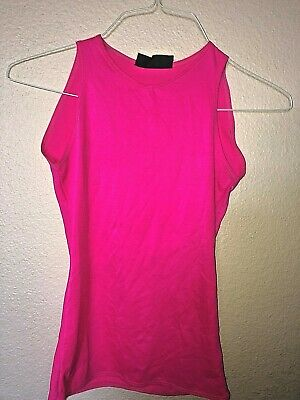 Vintage Alkire 1980's Men's SHINY Glossy SPANDEX Hot Bright Pink TANK TOP