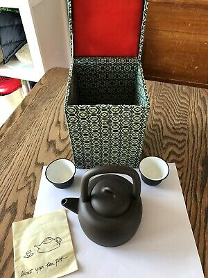 Red And Green Company Clay Tea Pot With Box  Two Tea Cups