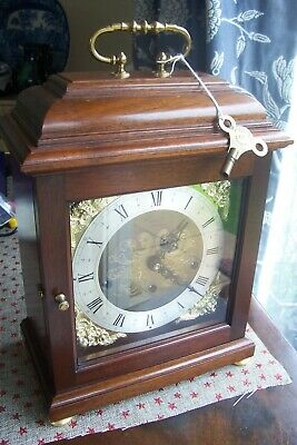 Comitti Mantel Clock 3 Train Musical Strikes on 8 Rods Mahogany Hermle Movement