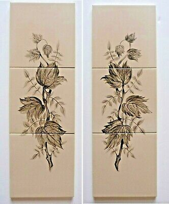 "2 hand painted tile panels each consisting 3 6""sq tiles by Packard & Ord, 1955"