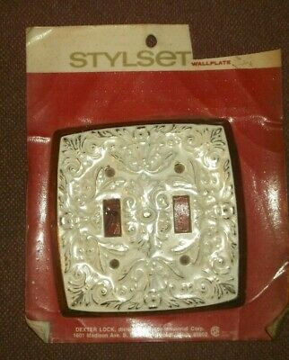 Vtg Metal Double Light Switch Plate Cover Hollywood Regency SHABBY CHIC
