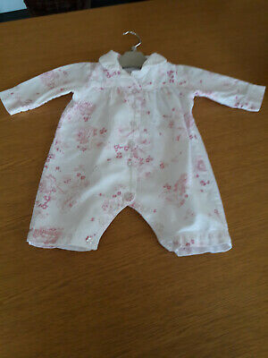 The Little White Company Sleep Suit All In One Age 0-3 Months Warm White & Pink