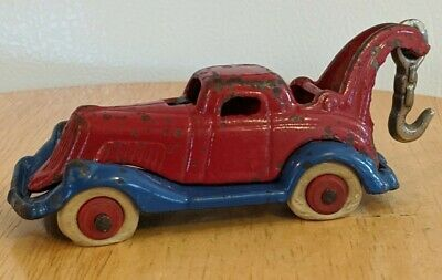 Antique Vtg A.C. Williams Cast Iron Take Apart Toy Wrecker Tow Truck Red Blue