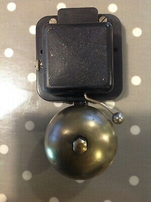 VINTAGE GPO ELECTRIC BLACK BAKELITE WITH BRASS BELL TELEPHONE DOOR  BELL 12v DC