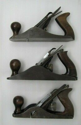 Lot of 3 Antique Vintage Stanley Bailey England No 4, 4 1/2 , 10 1/2 Wood Plane