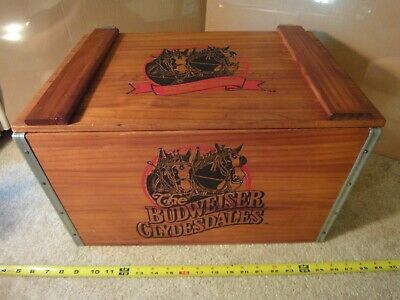 Budweiser Clydesdales large wooden crate. Anheuser Busch beer advertising. Rare!