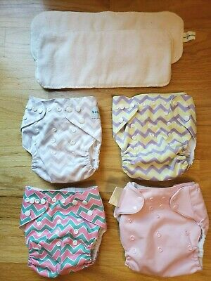 Girls Chevron Print & Pink Cloth Diapers & Inserts Baby Goal Bum Genius NICE!