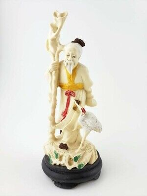 "VTG Asian Resin Figurine SHOU LAU God of Longevity Carved Crane 7"" Tall on Stand"