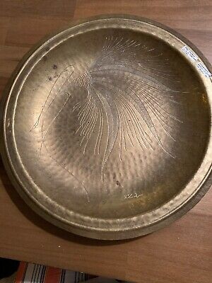 Mid Century H Zub Feather Etched Hammered Brass Platter Low Bowl-15 1/2 Inches