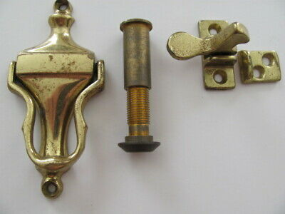 Vintage Brass Hardware Lot, Door Knocker, Peephole, Cabinet Latch,Good Used Cond