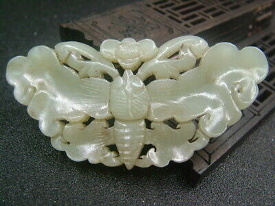Chinese Antique Celadon Nephrite Hetian- Jade Butterfly Statues/Pendant 231