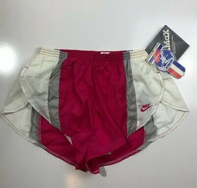 Vintage Nike Running Shorts Nylon Shiny Split High Cut Pink White Womens Medium