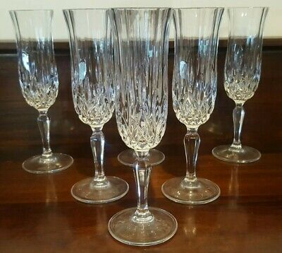 6 Crystal Champagne Flutes Panelled Star and Vertical Cut Tall Stemmed