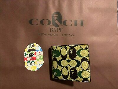BAPE x COACH COIN WALLET IN SIGNATURE CANVAS WITH APE HEAD CAMO IN HAND