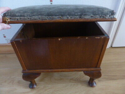 VINTAGE/ANTIQUE POUFFE STORAGE BOX STOOL/SEAT,OPENING LID & cushion top