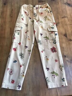 Zara Girls Floral Trousers Age 9 Yrs adjustable waist.