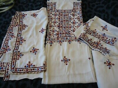 Hand embroidered mirror work unstitched shalwar kameez duppata fabric khaadi