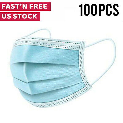 100 PCS Disposable Face Mask Anti Virus Surgical Medical Dental Industrial 3-Ply