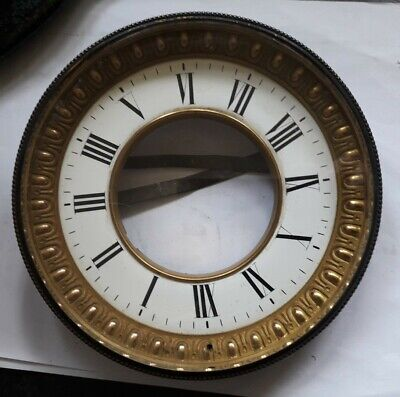 Antique Clock Brass Bezel with Enamel Chapter Ring