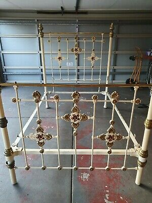 Antique Victorian Style Vintage Brass & Cast Iron Double Bed - Copper Decoration