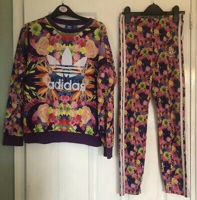 Girls Age 11 12 Adidas Floral Tracksuit Summer Hardly Worn 99p See Others Listed
