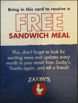 10 Zaxby's Club Combo Meal Gift Certificates Vouchers, $2 each, ship fast