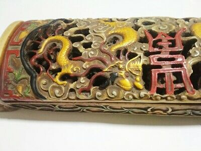 Antiques Box Chinese Golden Dragon Red Chinese Characters Stencil Old & Rare