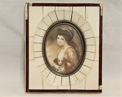 Miniature Antique German Sepia Painting Of Lady With Dog Portrait