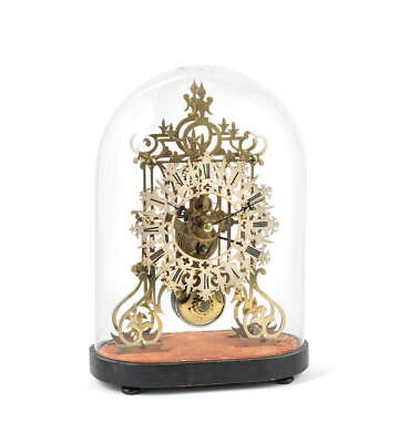 Late 19Th Century Brass Skeleton Clock With Plinth, Glass Dome Pendulum And Key