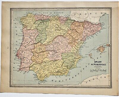 Original 1883 Color  Map Of Spain Portugal & France From Crams  Atlas Of World