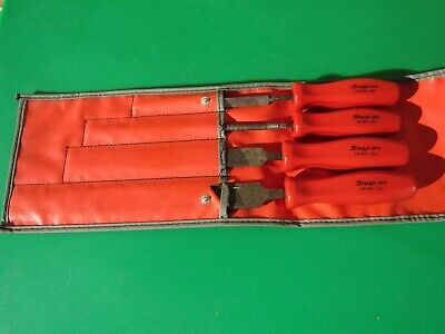 Snap On  Hbf500  File Set 4 Piece Red Hard  Handle Hf616 Hf615 Hf614 Ships Free