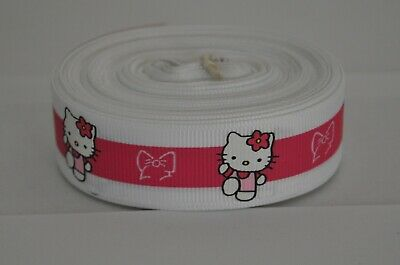 5//8 inch HELLO KITTY kitten cat black print on white grosgrain RIBBON Sanrio 1yd