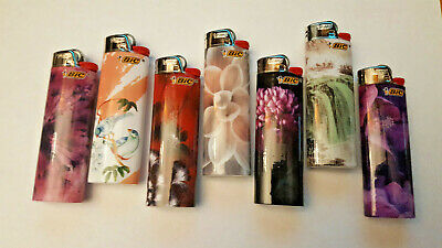 Lot of (7) BIC Full Size Lighters FASHION Designs - NEW