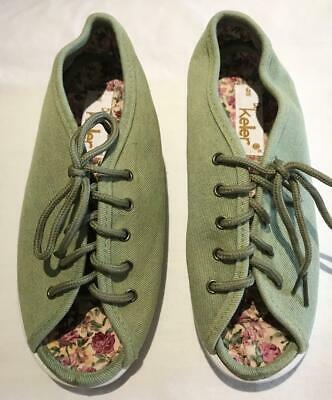 Size UK6 Dr Keller Green Canvas Lace-Up Peep Toe Shoes